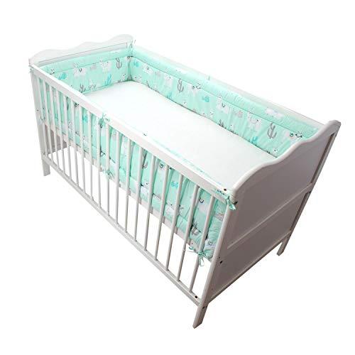 TupTam Baby Nestchen für Babybett Gemustert, Farbe: Lama Mint, Größe: 420x30cm (für Babybett 140x70)