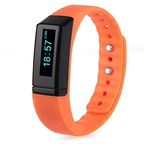 Padgene Fitness Sport SmartWatch Armbanduhr Schrittzähler Kalorienzähler Bracelet für Android iOS (Orange)