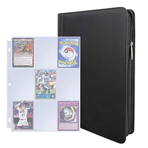 Toupeone Trading Card Binder with 30 9-Pocket Full Page Card Sleeves PU Leather Card Storage Binder with Zipper for Pokemon Cards, Baseball Cards, Football Cards and More image