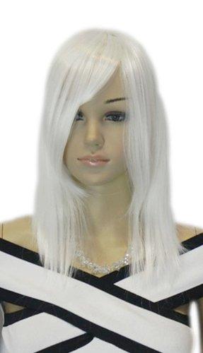 Qiyun Moyen Longue Argent Blanc Raide Cosplay Costume Complete Cheveux Perruque
