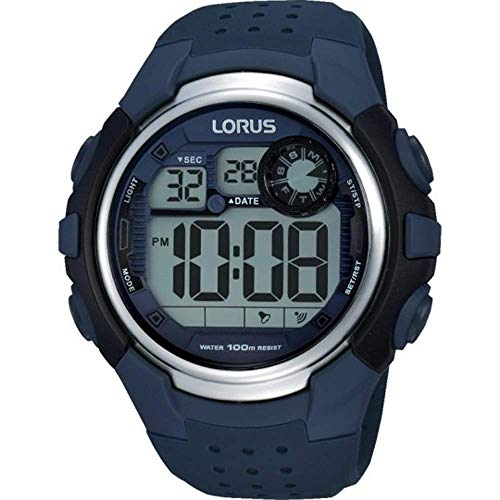 Lorus R2387KX9 Gents Digital Stopwatch Watch with Blue Resin Strap