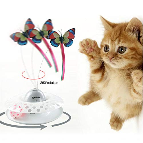 Laelr Cat Teaser Toy Butterfly Juguetes interactivos para Gatos Electric Rotating Butterfly Cat Toy Gatito automático Ringing Track Ball Toy para Interiores con alas Luminosas, 3 Mariposas Incluidas