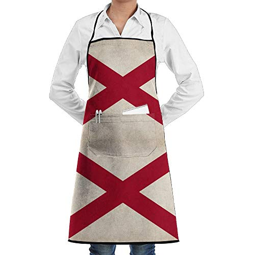 Estrange Love Alabama Aprons Kitchen Chef Bib Aprons Gift Apron Professional For Grill,BBQ,Baking,Cooking For Men Women,with Front Pockets,Black