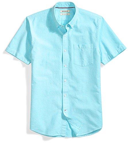Amazon Brand - Goodthreads Men's Slim-Fit Short-Sleeve Solid Oxford Shirt with Pocket, Turquoise, Medium