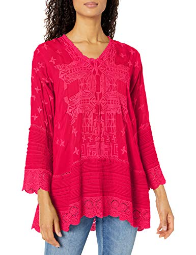 Johnny Was Damen Tonal Embroidered Long Sleeve Tunic with v Neck Tunika-Oberteil, Pink Berry, X-Klein