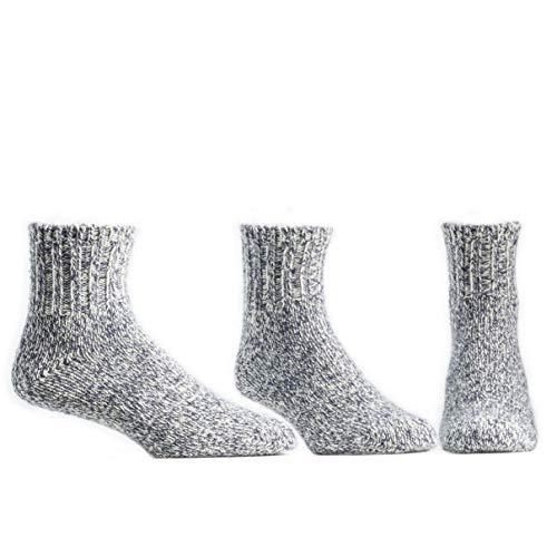 Ballston Quarter 74% Merino Wool House Socks/Ragg Socks - 3 Pairs for Men & Women(Denim, XL (Fits Men