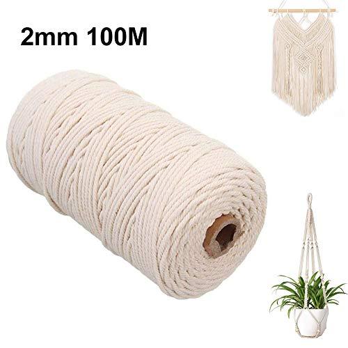 L&H Gadgets Baumwolle Garn,Naturliches Baumwollgarn Basteln,baumwollkordel,Macrame Garn,Kordel DIY Handwerk Multi Größe Leinen (100M-2mm)