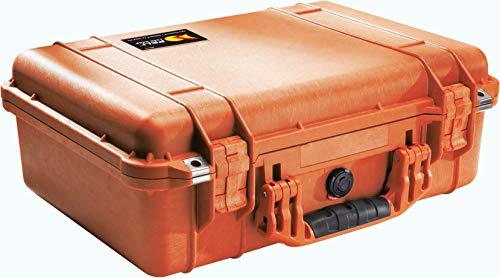PELI 1500 Maleta de proteción impermeable para equipos fotográficos con amplio espacio para accesorios, IP67 estanca, 19L de capacidad, fabricada en Alemania, sin espuma, color naranja