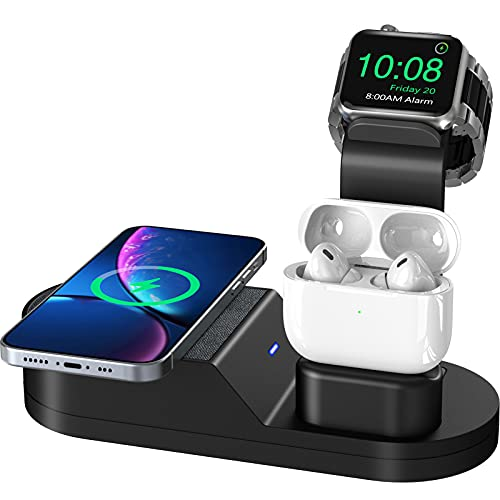 Todamay Wireless Charger,3 in 1 Kabelloses Ladegerät,Induktive ladestation für Apple Watch Airpods Pro Phone Series 12 pro Max/SE/11/11pro/X/XS/XR/Xs Max/8/8 Plus Samsung Galaxy S20/S10