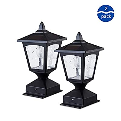 Solar Post Lights - Outdoor Post Cap Light for Fence Deck or Patio - Solar Powered Caps, Warm White LED Lighting, Lamp Fits 4x4 or 6x6 Posts, Black (2 Pack)