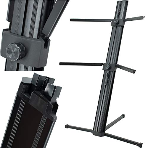 """EMB Professional CKS508 Professional 2-Tier Column Keyboard Stand with 5/8"""" Mic Mount - Black"""