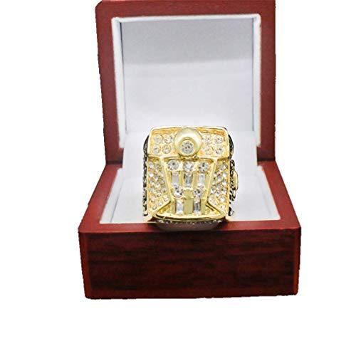 Stijlvolle eenvoud mannelijke ringen, NBA Bulls Championship replica Ring 3D Diamond Bling ringen met een houten doos voor mannen maat 11, N-J