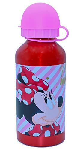 ML Botella de Agua de Aluminio para niños y niñas, 0.4 L Minnie cantimplora térmica a Prueba de Fugas sin BPA para Levar a la Escuela y Deportes Rosa 400ml