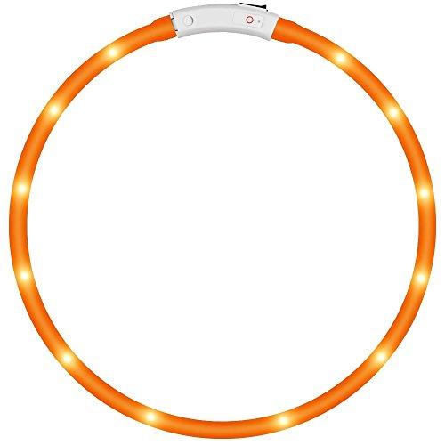 KEKU LED Collar de Perro de Mascota, llevó USB Recargable Collar de Seguridad para Mascotas Impermeable hasta la Longitud de 50 cm (19.5in) Collar de Destello Ajustable (Amarillo)