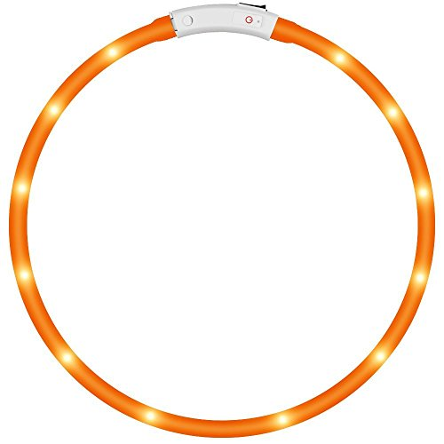 KEKU LED Collar de Perro de Mascota, llevó USB Recargable Collar de Seguridad para Mascotas Impermeable hasta la Longitud de 50 cm (19.5in) Collar de Destello Ajustable (Amarillo)