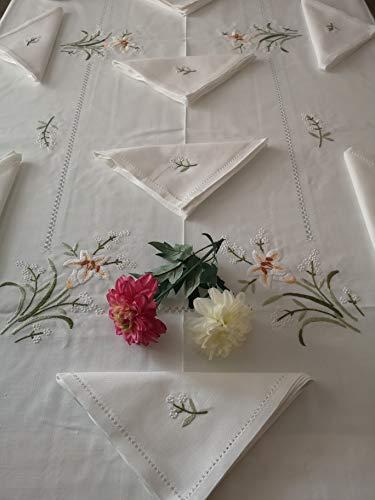 Elegante mantel x 12 de mezcla de lino (40% lino y 60% algodón) con bordado de flores a mano en punto lleno