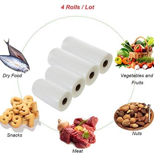 """Fantastic Deal! 4 Rolls Of Vacuum Bags - Contains 2 Rolls 11"""" x 50'+2 Rolls 8"""" x 50' Food Bag"""