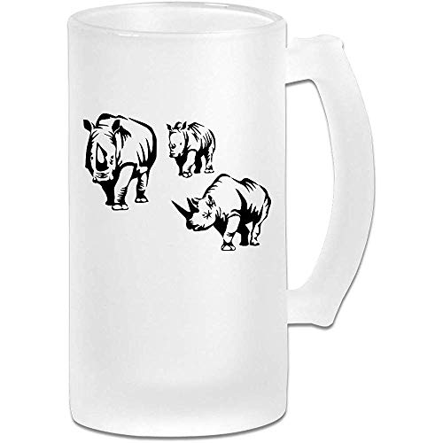NHJYU Boccale di Birra African Rhino Frosted Glass Stein Beer Mug - Personalized Custom Pub Mug- Gift for Your Favorite Beer Drinker