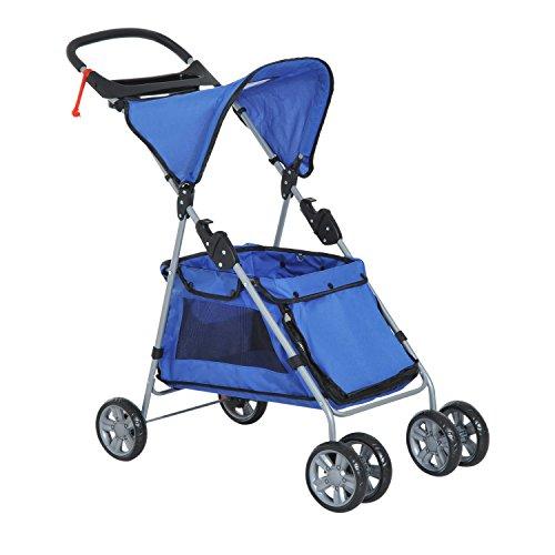 PawHut Hundewagen Hundebuggy Haustier Transportwagen Buggy mit Dach Stahl (Blau)