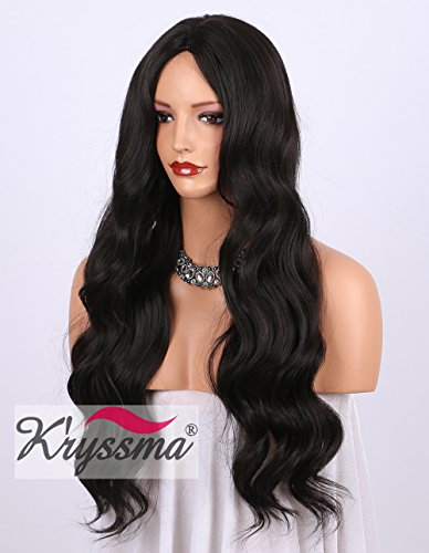K'ryssma Dark Brown Long Synthetic Wigs For Women Wavy #2 Full Machine Made Natural Looking Cheap Wig UK Heat Safe 24 Inches