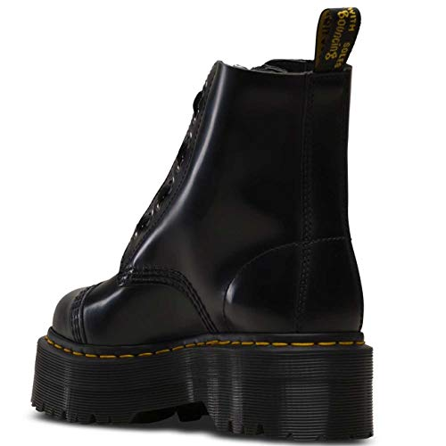 Dr. Martens Women's Quad Retro Sinclair Polished Smooth Leather Boot Black-Black-8 Size 8
