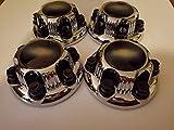 4 piece SET Chrome Chevy Silverado 6 Lug 1500 Center Caps 16' 17' Steel Wheels BLACK logo