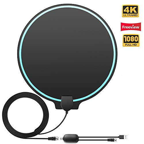 Digital TV Antenna - Indoor HDTV Antenna 2019 Upgraded 100 Miles Range HD Antennas Support HDTV 1080P,1080i,720p with 16.4ft Coaxial Cable and Amplified Signal Booster