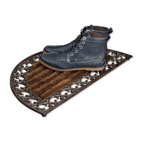 Relaxdays Fußabtreter Gusseisen mit Bürsten rund HBT ca. 4 x 72 x 39 cm Fußabstreifer im Jugendstil Schuhabstreifer passend zum Landhausstil aus robustem Metall mit Anti-Rutsch-Füßen, bronze