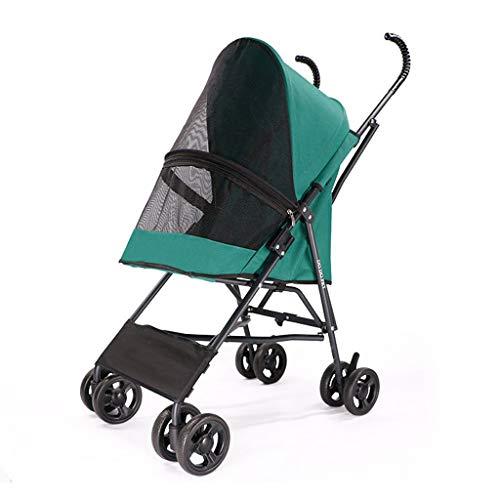 4-wiel dierenwagen opvouwbaar voor kleine honden en katten, lichtgewicht en gemakkelijk lopen reisdragers transporter jogger huisdier buggy, tot 10 kg hond kar (zwart groen rood), Groen
