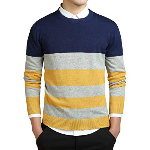 Suéter de Cuello Redondo a Rayas para Hombre, suéter de Moda de Todo fósforo, Ropa de Calle Ajustada, Manga Larga, Jersey de Punto Informal XXL