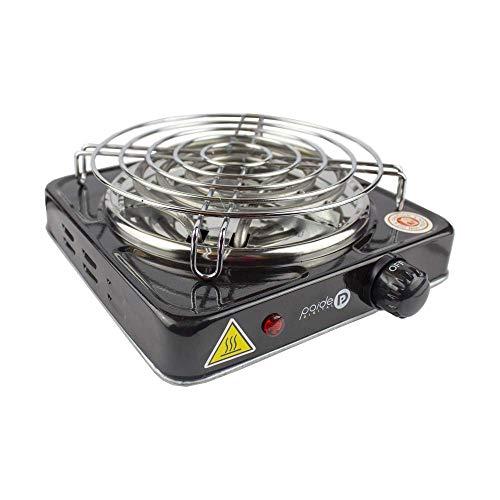 Cocina eléctrica con reijlla para cachimba shisha hookah camping para cocinar carbón (Negro)