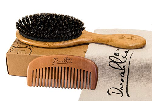 Boar Bristle Hair Brush Set for Women and Men - Designed for Thin and Normal Hair - Adds Shine and Improves Hair Texture - Wood Comb and Gift Bag Included (black)