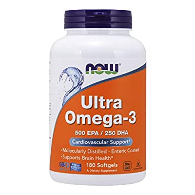 NOW Supplements, Ultra Omega-3 Molecularly Distilled and Enteric Coated, 180 Softgels