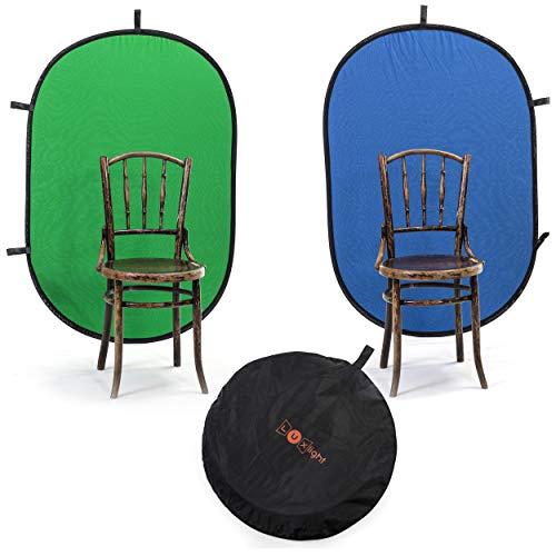 100x150cm Chroma Key Backdrop Grün & Blau für Fotografie | Luxlight® | Faltbarer und wendbarer Muslin Pop Up Video Hintergrund | Vlogging Portrait YouTube Filmen