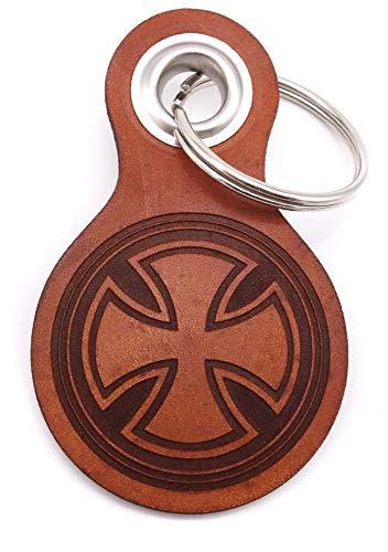 Samunshi® Eisernes Kreuz Schlüsselanhänger Leder Gravur Motiv für Männer und Frauen Individuell Schlüssel Anhänger Geschenk 8x4,8cm Cognac braun/graviert