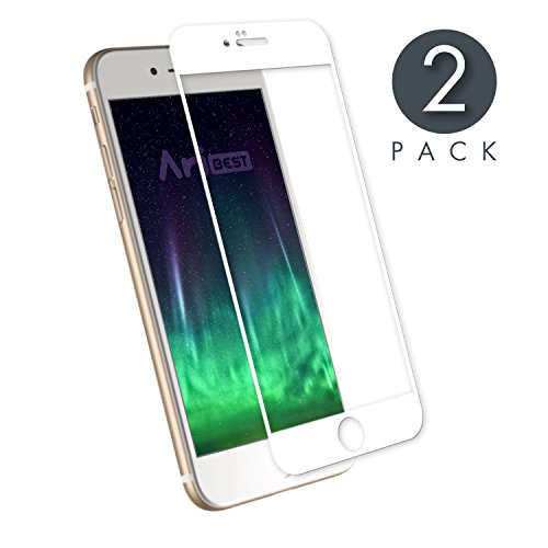 Aribest Protector de Pantalla iPhone 7 Cobertura Completa, Protector de Prima de Cristal Templado iPhone 7 [Protección Completa de la Pantalla para el iPhone 7 Blanco][Bordes curvados 3D para Mejor a