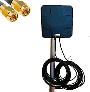 W WONECT Antenas 4G Exterior Larga Distancia Compatible LTE 46dBi Alta Potencia - Largo Alcance señal Conexion 3G,4G,5G LTE Internet (10m Fija, Negro)