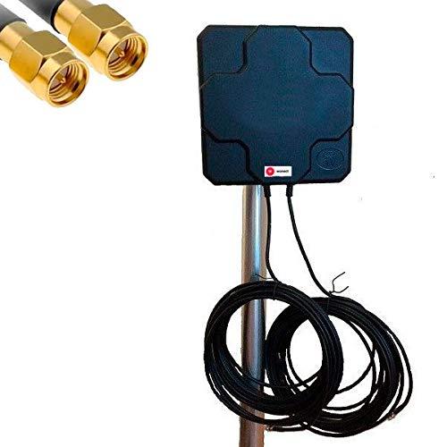 Antenne Panneau 4G Wonect 46 dBi Extérieur Noir 10 mètres Câble Terminal Connecteur SMA Mâle