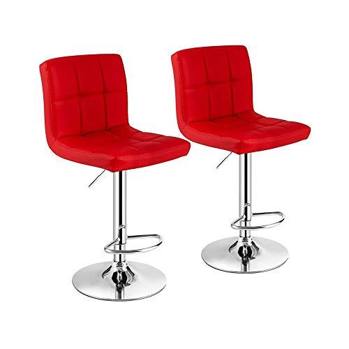 KLYHCHN Barhocker Set 2 mit rückseitiger Höhe Hoch Hocker Barhocker Hochpolster Barhocker for Küche Insel Verstellbare Barhocker PU-Leder Swivel Küchentheke Pub Chair (Schwarz) (Color : Rot)