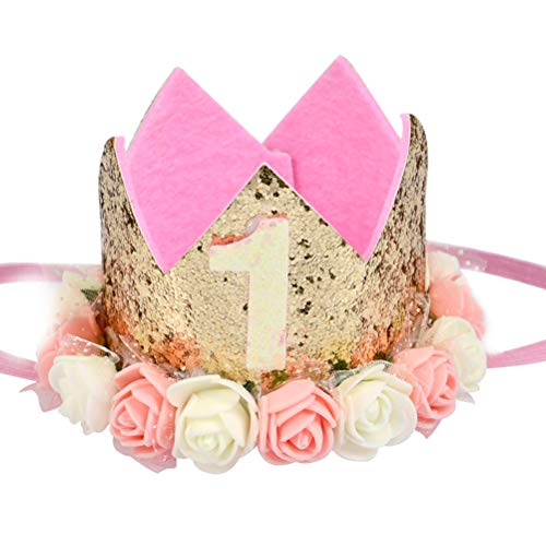 MOPHY Baby-Prinzessin Geburtstag Krone 1 Jahr Baby Girl Fashion Lovely Blume Krone Headwear Hut