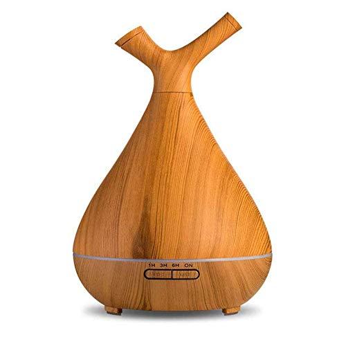YUEBAOBEI Befeuchter Holzmaserung 400Ml Ätherischen Ölen, 7 LED-Farblichtern, Ultraschall-Diffuser, Mit Wasserloser Automatischer Abschaltung Und 4 Timer-Einstellungen, Für Schlafzimmer,A