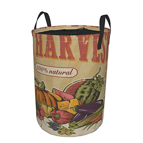 Laundry Hamper With Lid Thanksgiving Retro Best Harvest Pumpkin Fruits Vegetables Collapsible Laundry Baskets Foldable Dirty Clothes Hamper Nursery Toy Storage Bin Laundry Room Decor Medium