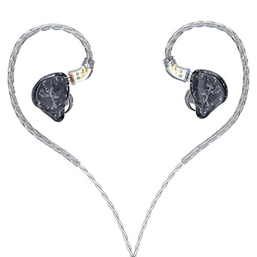 JadeAudio(FiiO's sub-Brand) EA3 HiFi 1BA(Knowles)+1Dynamic Hybrid Earphone IEM Stereo Bass Earphone with 0.78 2pins Detachable High Purity Silver-Plated Cables(Without Mic,Black)