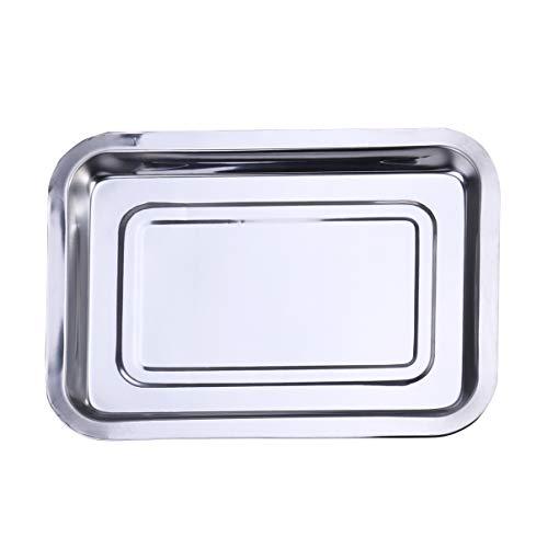 DOITOOL Bakplaat Plancha Grillpan Herbruikbaar Roestvrijstalen Droogbakje Antiaanbaklaag Braadpan Voor Thuiskeuken Barbecue 36X27x4. 8Cm