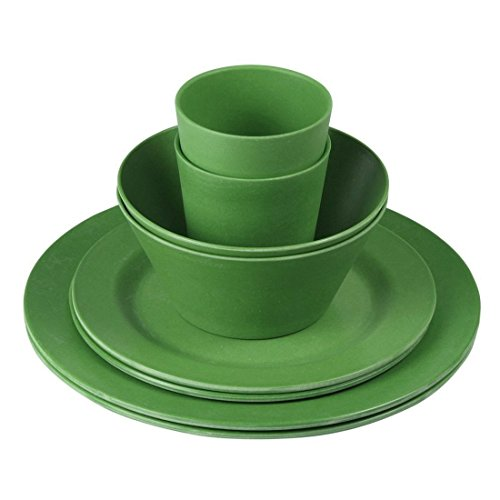 10T Forest 8-delig camping bamboe servies camping servies 2 personen 4x borden, 2x kop, 2x kom