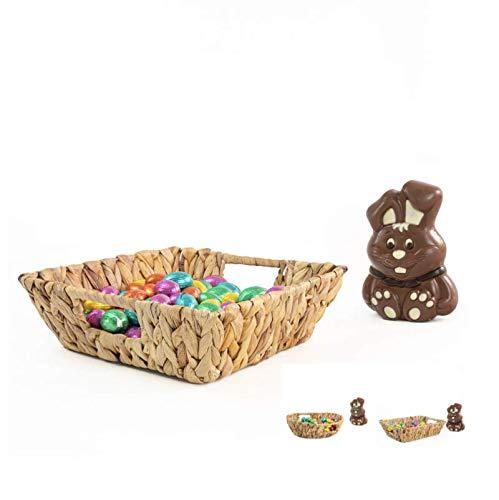 Blue Omnia Geflochtener Osterkorbchen | Quadratischer Korb | Brotkorb für Ostern | Dekorative Schale | Hochwertiger Weidenkorb als Geschenkpaket und Aufbewahrungskorb (25 x 25 x 8)