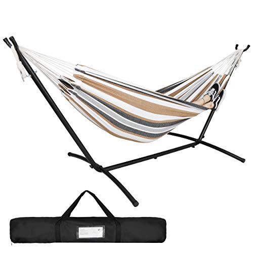 ZENY Double Hammock with Stand 2 Person Heavy Duty Steel 9ft Hammock Stand Portable Carrying Bag for Indoor Outdoor Bedroom,Desert Stripes