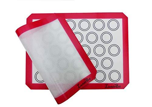 Martin LuxéArt – Tappetino da cottura in silicone, 2 pezzi, senza BPA, antiaderente, 40 x 30 cm + 1 libretto digitale di 5 ricette da pasticceria