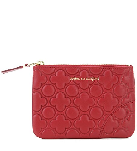Pochette Comme des Garcons wallet in pelle stampata colore rosso