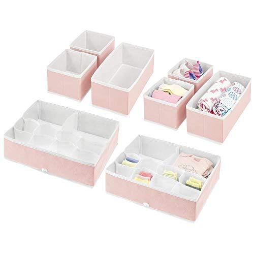 mDesign Juego de 8 Cajas organizadoras para Cuarto Infantil – Elegantes cestas de Tela de Diferentes tamaños – Organizadores para armarios de Fibra sintética Transpirable – Rosa Claro/Blanco